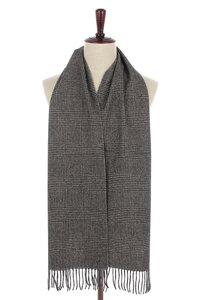 Mooie heren sjaal Pure Check Wollen shawl Geruit geblokt Grijs zwart