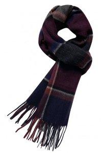 Heren sjaal Happy Red|Wollen shawl|Geruit geblokt|Rood Blauw