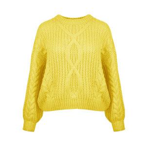 Kabel gebreide damestrui Flo|Geel pastel|Grofgebreide trui