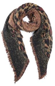 Toffe dames sjaal Leopard Love Lange dames shawl Luipaard Bruin Geel Franjes