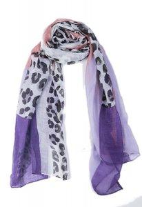 Langwerpige dames sjaal Purple Animal|Wit Roze Paars|Dierenprint