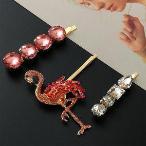 Haarclips Flamingo Sparkle|Haarschuifjes|Goud|Glitter|Set van 3