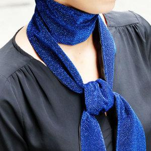 Blauwe sjaal Glitter Party Lange shawl Dunne sjaal