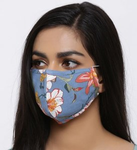 Mooi blauw mondkapje Flora|Katoen mondkapje|100% Katoen|Wasbaar herbruikbaar