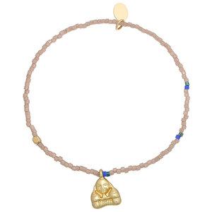 Armbandje Lucky Buddha|Beige Goud|Boedha