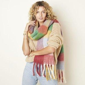 Extra zachte sjaal Soft Check|Wintersjaal dames|Rood Geel groen