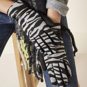 Zachte dames handschoenen Zebra|Zwart grijs|warme handschoenen