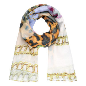 Long women's scarf Magnolia|Leopard and chains|Purple