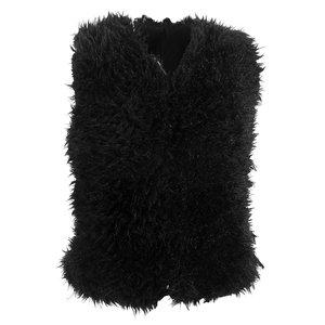 Gilet Furry Look|Zwart damesvest|faux fur nepbont