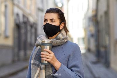 Zwart mondmasker Stylish|Katoen mondkapje|Wasbaar|Excl. filters