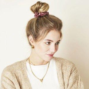 Mooie scrunchie Animal|Haarelastiek|Goud Rood|Froezel