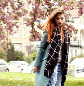 Zwart wit geruite sjaal extra breed geblokt geruit omslagdoek
