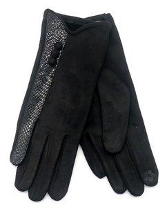 Zwarte warme dames handschoenen Snake