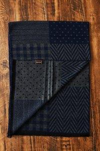 Heren sjaal navy blauw Fray - mannen shawl - geblokt - gestreept