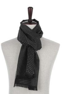 Heren sjaal zwart wit Dots Stripes|Warme heren shawl|Fijne franjes