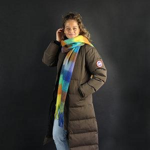 Extra zachte sjaal Soft Check Wintersjaal dames Blauw Groen Paars