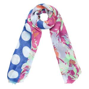 Lange dames sjaal Cheerful Day Stippen bloemen Roze blauw