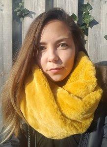Faux fur col sjaal Furry Loop Geel Tube shawl col sjaal Nep bont