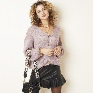 Gebreid dames vest Marshmellow|Paars damesvest|Fluffy vest