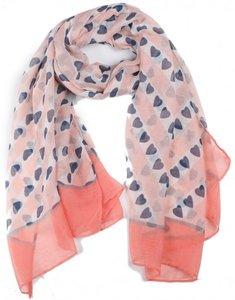 Langwerpige sjaal My Valentine|Hartenprint|Roze blauw