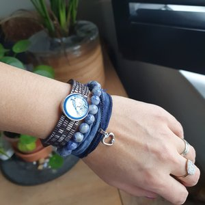 Set kralenarmbanden Sodaliet|Lederen armband|Edelsteen kralen