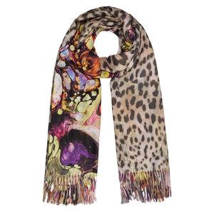 Langwerpige sjaal Cute Prints Luipaard kleurrijk Paars Geel Bruin