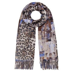 Langwerpige sjaal Patterns Luipaard dubbelzijdig Blauw Bruin