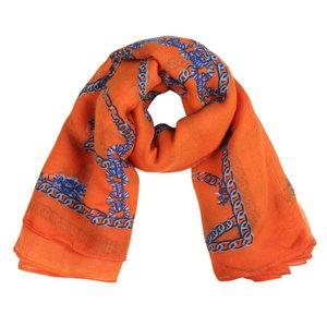 Oranje dames sjaal Chain Party Langwerpige sjaal Oranje Blauw
