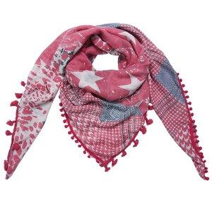Grote vierkante dames sjaal Star Mix|Vierkante shawl|Sterrenprint|Rood Glitter