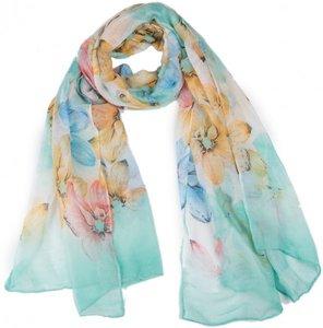 Langwerpige sjaal Flowy Pastels Gebloemde dames shawl Turquoise blauw geel