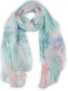 Langwerpige sjaal Palm Vibes|Bladerenprint|Blauw, Groen, Roze, Wit