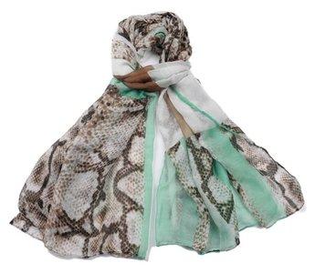 Langwerpige sjaal Minty|Slangenprint|Mintgroen, Bruin
