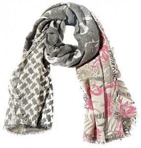 Vierkante sjaal Glitter Fun|Flamingo print|Glitters, Grijs, Roze