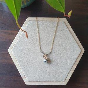 Dalmatier Jaspis ketting Edelsteen sieraad Goudkleurig