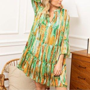 Musthave jurk Miemie|Oranje groen|Tuniek jurk