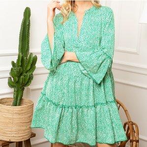 Musthave jurk Romi|Groen Wit|Tuniek jurk
