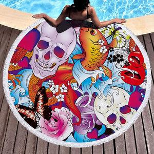 Beach roundie Japan Art Badstof Microfiber Extra dikke kwaliteit Koi skull tattoo