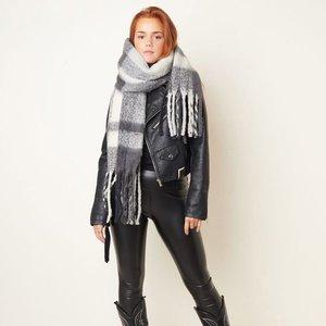Stoere sjaal Cozy Winter grijs Extra lange dames sjaal Geruit Geblokt