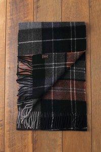 Heren sjaal Stripe Tartan Wollen shawl Geruit geblokt Zwart Perzik