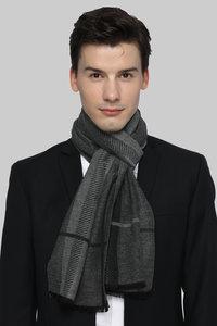 Heren sjaal Grey Stripes|Warme heren shawl|Grijs Zwart|Gestreept|Fijne franjes