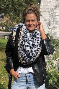 Faux fur driehoek shawl Leopard Luxury|Grijs zwart|Nepbont|Luipaardprint