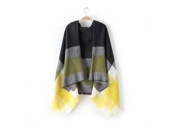 Scarfz grijs-gele sjaal geruit
