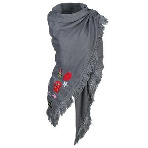 Scarfz sjaal Patches grijs driehoek sjaal