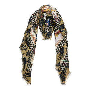 Vierkante dames sjaal Deep Forest Bruin Oranje Oker Zwart