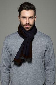 Warme heren sjaal Simple Border Bruin Blauw