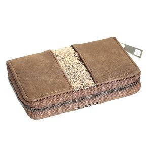 Scarfz small wallet kleine portemonnee Glitter Line bruin goud