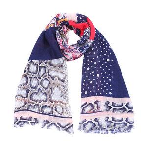 9275f69b9dd Vierkante dames sjaal Dreamy Snake|Vierkante shawl|Slangenprint|Roze Blauw