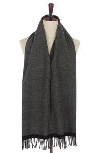 Scarfz heren sjaal Herringbone grijs antraciet wollen shawl mannen