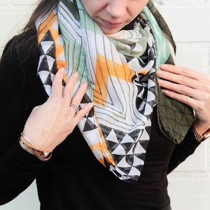 Scarfz lange dames sjaal groen geel