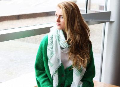 Scarfz lange dames sjaal Heavy pattern wit groen sterren strepen